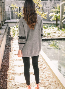Long Sleeve Open Front Knit Cardigan with Pockets Bohemian Knitted Sweater Outwear