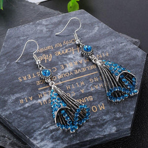 National Wind Restoring Ancient Ways Alloy Set Auger Hollow Out Fashion Ladies Earrings Jewelry
