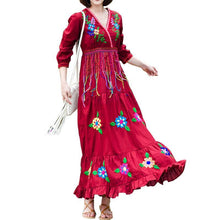 Load image into Gallery viewer, Boho Gypsy Floral Embroidery V Neck Maxi Dress