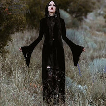 Load image into Gallery viewer, Gothic Halloween Long Flare Sleeve Velvet Black Cloak Sexy Zipper Hooded Cape Coat