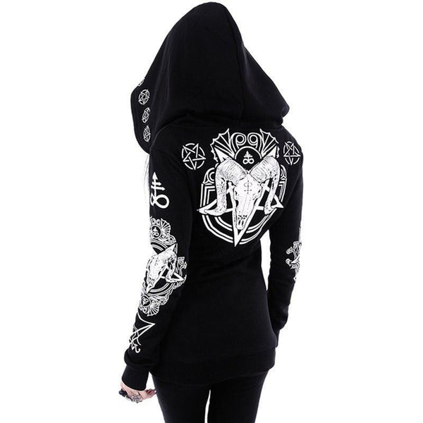 Women Plus Size Coat Punk Gothic Print Hooded Hipster Goth Dark Hoodies
