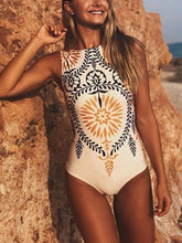 Load image into Gallery viewer, Striped Women One Piece Swimsuit Swimwear Printed Summer Bathing Suit Tropical Bodysuit-1