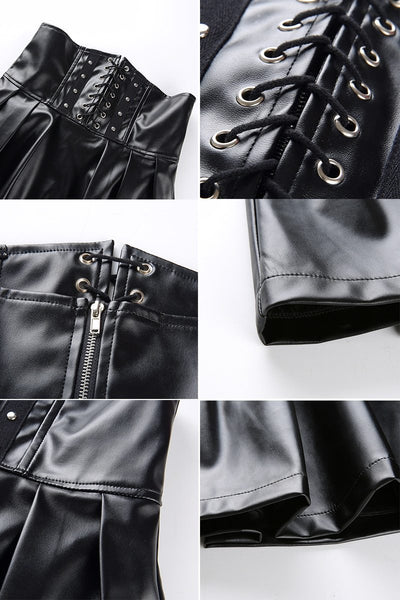 Gothic Harajuku Bandage Faux Leather Korean Fashion Black Mini Pleated Skirts