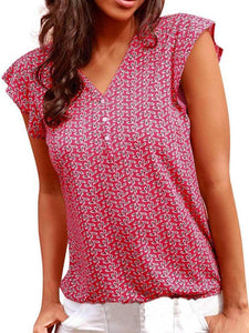 Womens V Neck Red Tank Top Casual Vest Sleeveless Printed Tank Summer Top