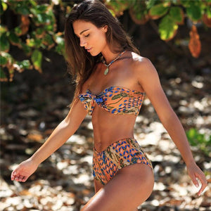 High Waist Bikinis Print Swimwear Bathing Suits Retro Floral Beach Bikini