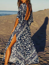 Load image into Gallery viewer, Babushka Printed Kimono Style Sleeves Plunging V-neck Backless Maxi Dress
