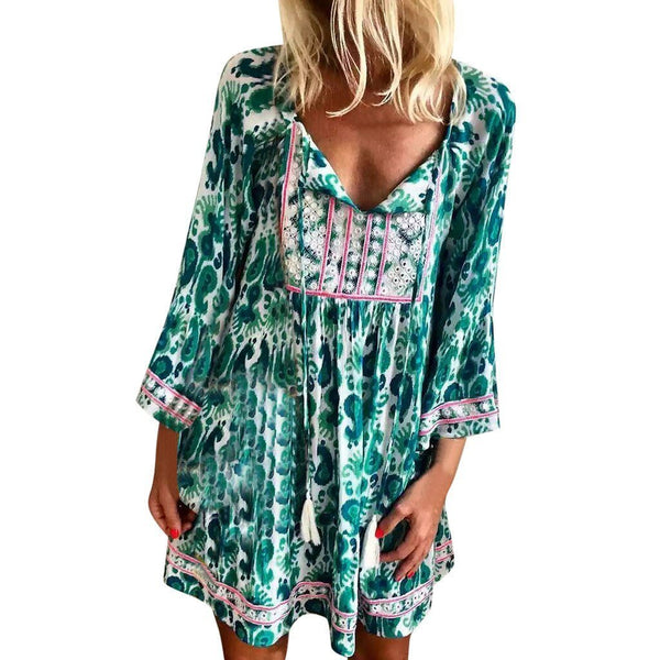 Fashion Women Long Sleeve V-neck Printed Floral Bohemia Mini Dress