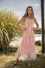 Load image into Gallery viewer, Boho Mesh Pink Ruffles 2 Pieces Sets Dress