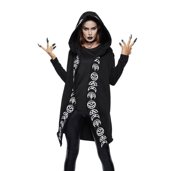 Gothic Casual Cool Chic Black Plus Size Women Sweatshirts Loose Plain Print Female Punk Hoodies