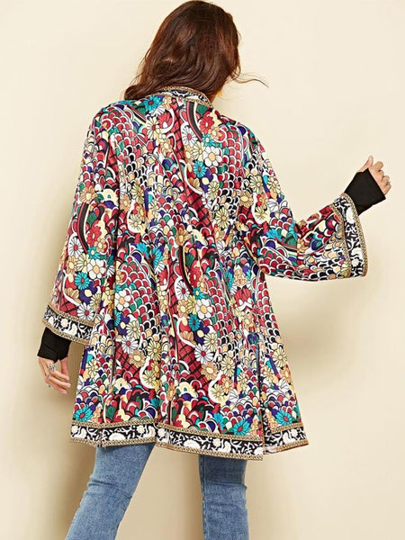 Ethnic Floral Spring Long Sleeve Side Split Casual Outerwear Retro Long Cardigan Jacket