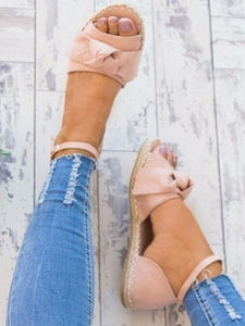 Boho Casual Solid Color Bowknot Low-heel Shoes