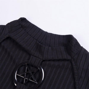 Slim Black Hollow Pentagram Tops Women Autumn Streetwear Hipster Fashion Club Sexy Navel T Shirts