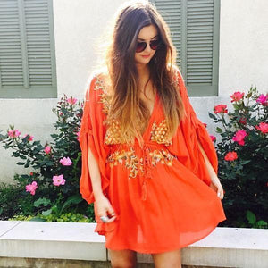 Boho Sexy Embroidered Deep V-neck Drawstring Long Sleeve Mini Dress
