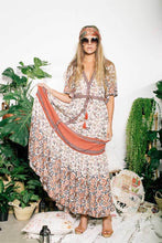 Load image into Gallery viewer, Boho Maxi Floral print V-neck Tassel Drawstring Dress