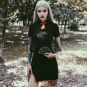 Halloween Women Gothic Punk Cheongsam Embroidery Bodycon Vintage Split Mini Dress