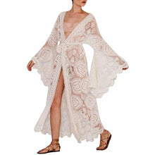Load image into Gallery viewer, Bell Sleeve Lace Maxi Summer Bohemian Beach Dress Cover-up