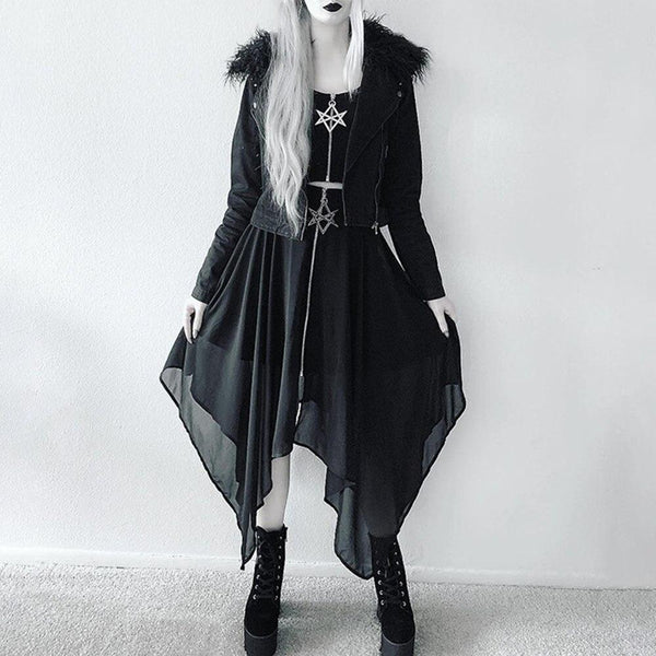 Dark Wind Punk Streetwear Gothic High Waist Asymmetrical Mesh Tulle Skirt