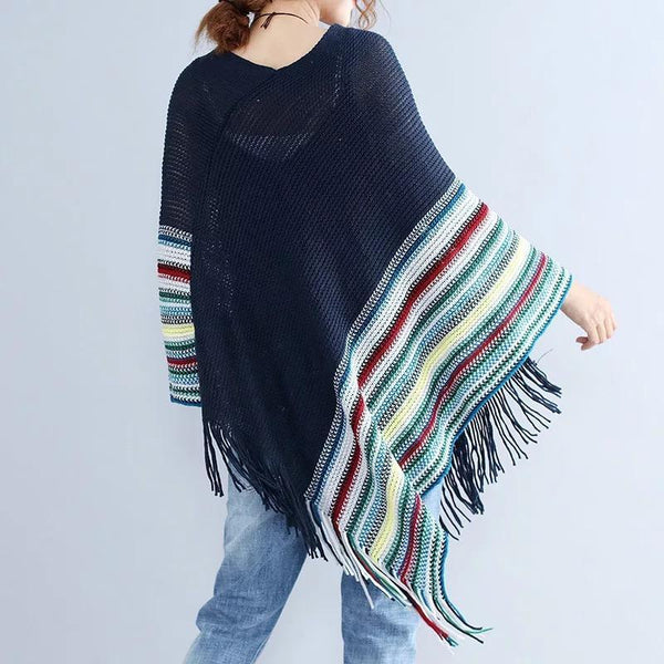 Women Patchwork Long Sleeve Tassels Shawl Sweaters