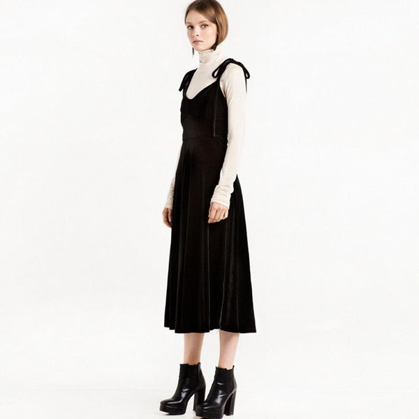 Black Velvet Dress Spring And Autumn New Versatile Suspender Skirt High Waist Large Swing Skirt Slim