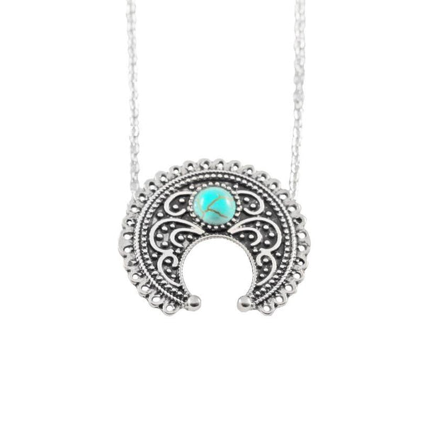 Vintage ethnic style bohemian gypsy imitation Thai silver turquoise totem carved necklace