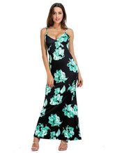 Load image into Gallery viewer, Spagetti Neck Mermaid Floral Backless Bohemia Long Maxi Dresses