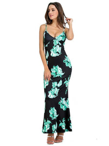 Spagetti Neck Mermaid Floral Backless Bohemia Long Maxi Dresses