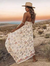 Load image into Gallery viewer, Strap Backless Bohemia Maxi Chiffon Floral Print Dress Beach Style Vacation Dress