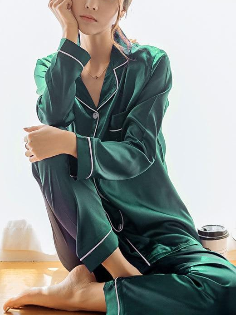 2  Piece Autumn Women Sleepwear Faux Silk Satin Pajamas Set Long Sleeve Sleepwear Pajamas Suit Female Homewear