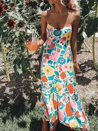 Floral Summer Boho Spaghetti-Strap Long Party Dress