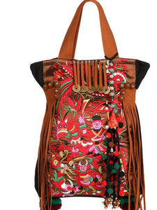National style retro embroidery one shoulder travel big bag female
