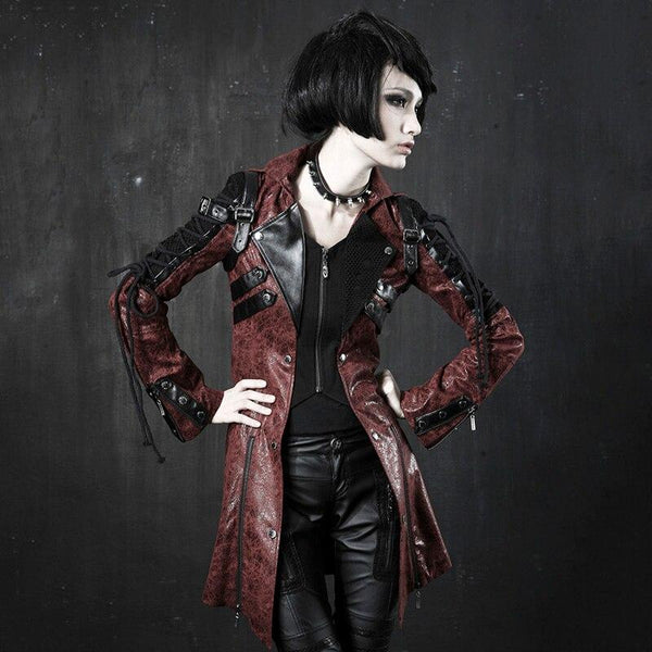Women Gothic Vintage Handsome Leather Long Steampunk Rubber Sleeve Punk Jacket