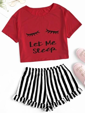Black Graphic Tee Frilled Striped Shorts PJ Round Neck Short Sleeve Set Summer Women Patchwork Sleepwear