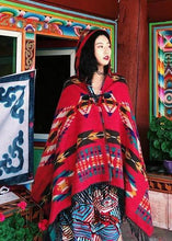Load image into Gallery viewer, Tibetan Nepalese National Cloak Shawl Thick Hooded bohemian Scarf