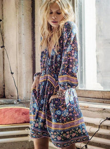 Bohemian Bandage Summer Loose Print Seaside Holiday Dress