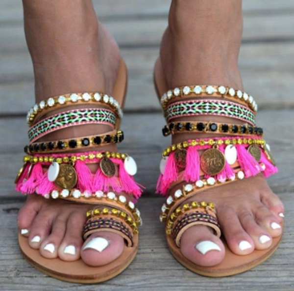 Vintage Boho Beach Tassels Flat Sandals Shoes