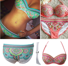 Load image into Gallery viewer, Printed Low-rise Bikini Beach Swimsuit