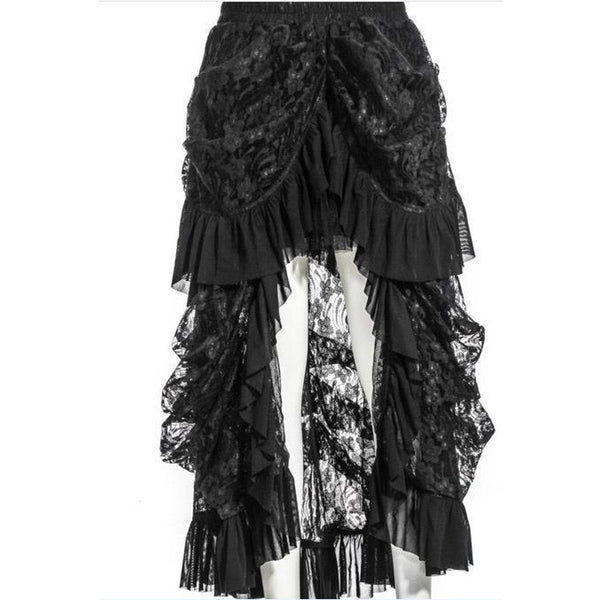 Fashion Gothic Steampunk Layered Punk Lace Irregular Party Long Skirtjupe Skirts