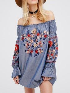 Retro National Style Flower Inwrought Long Sleeve Off-Shoulder Mini Dress