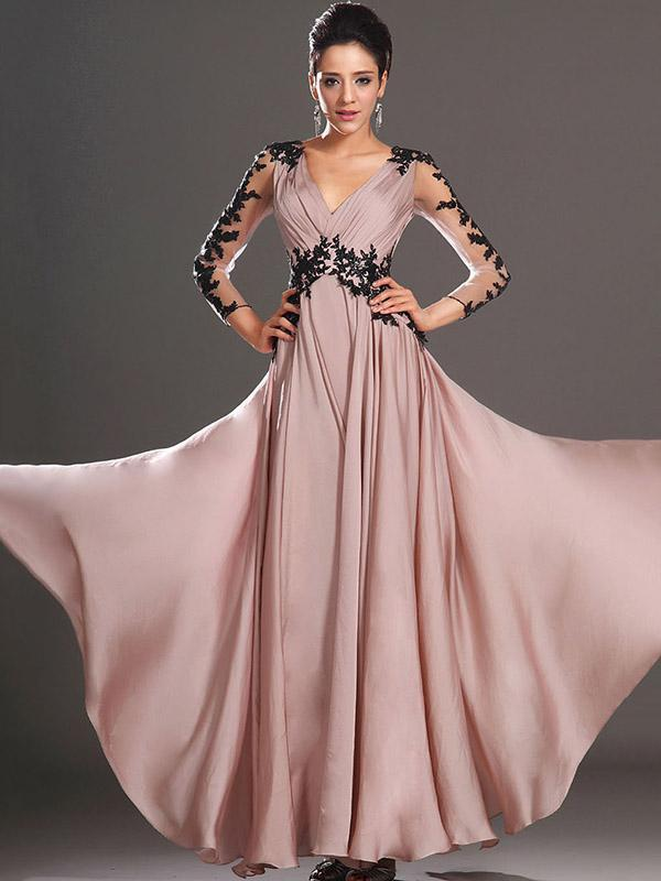 Lace Pink V-neck Long Sleeve Maxi Dress
