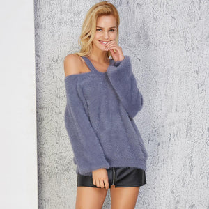 Winter Sexy Off The Shoulder Solid Color Knit Sweater