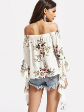 Load image into Gallery viewer, Popular Fashion Floral-Print Off-Shoulder Long Sleeve T-Shirts Tops