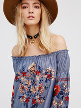 Load image into Gallery viewer, Retro National Style Flower Inwrought Long Sleeve Off-Shoulder Mini Dress