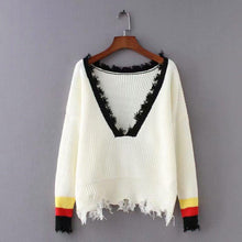 Load image into Gallery viewer, Solid Color Long Sleeve Deep V Neck Tassels Sweater
