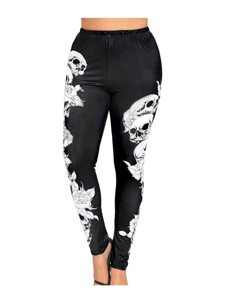 Women Sexy Plus Size Skull Printed Leggings Ladies Gothic Halloween Leggings Leggings Fitness Feminina Leggins Mujer