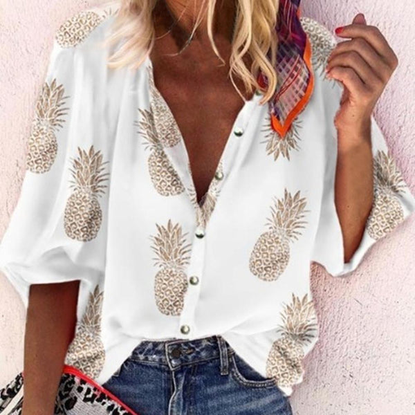 Dot Women Blouse Sexy V-Neck Tops Pineapple Printed Shirts