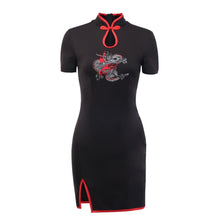 Load image into Gallery viewer, Halloween Women Gothic Punk Cheongsam Embroidery Bodycon Vintage Split Mini Dress