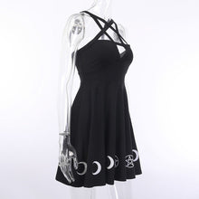 Load image into Gallery viewer, Women Gothic Style Punk Black Moon Star Print Sleeveless Hollow Out Mini Dress