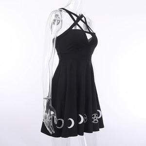 Women Gothic Style Punk Black Moon Star Print Sleeveless Hollow Out Mini Dress