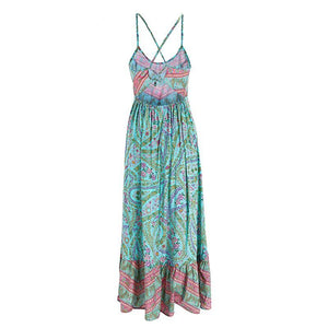 Bohemian Paisley Floral Boho Backless Spaghetti Strap Dress
