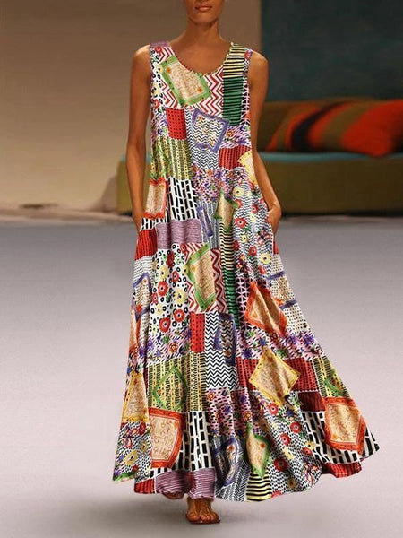 Bohemian Printed Sleeveless Large Swing Long Dress